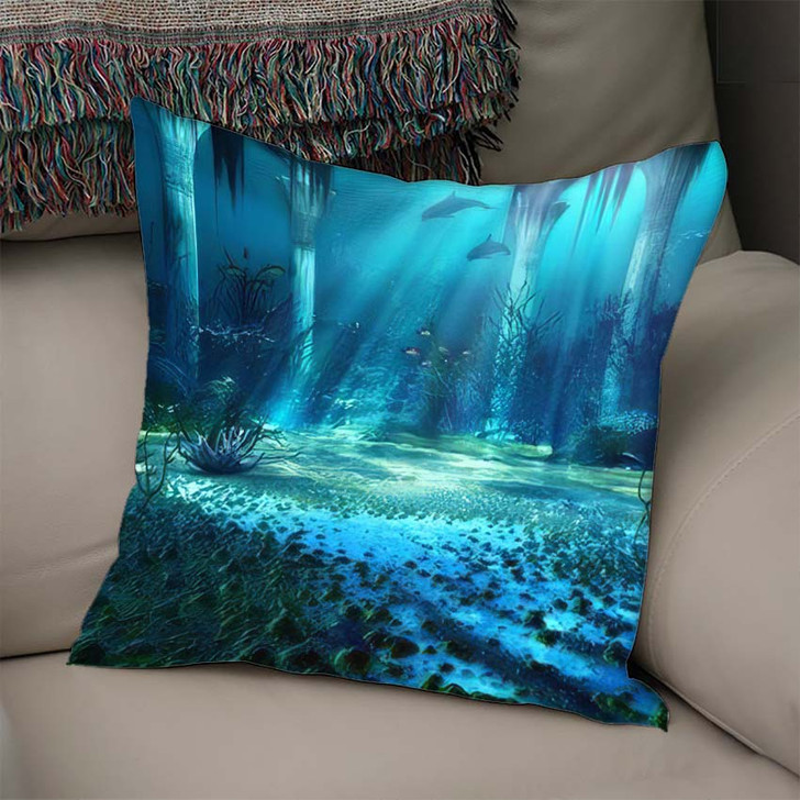 3D Illustration Rendered Underwater Fantasy Landscape - Fantasy Linen Throw Pillow