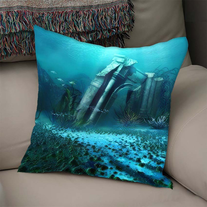 3D Illustration Rendered Underwater Fantasy Landscape 1 - Fantasy Linen Throw Pillow