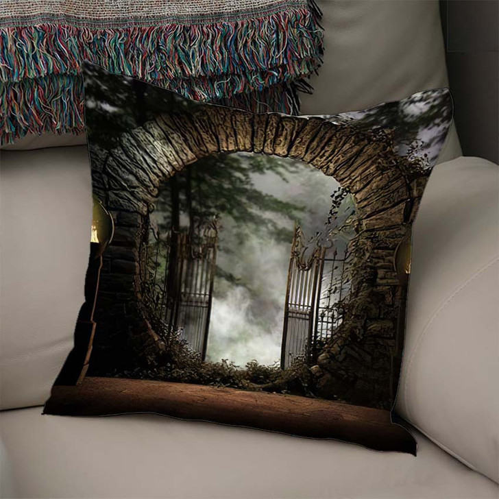 3D Illustration Stone Gated Moon Entrance - Fantasy Linen Throw Pillow