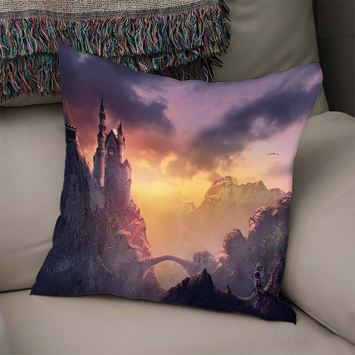 3D Image Castle On Mountain Sunset - Fantasy Linen Throw Pillow