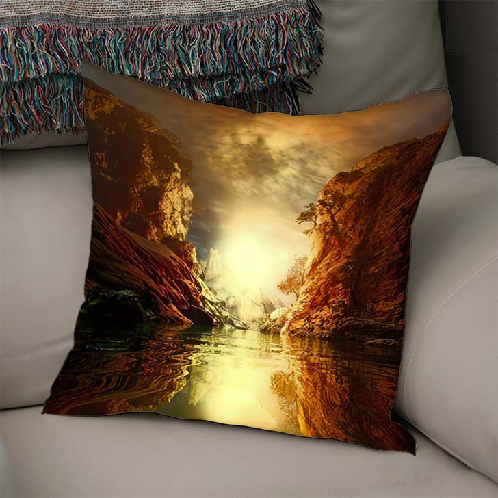 3D Landscape Illustration Where Observed Two 1 - Fantasy Linen Throw Pillow