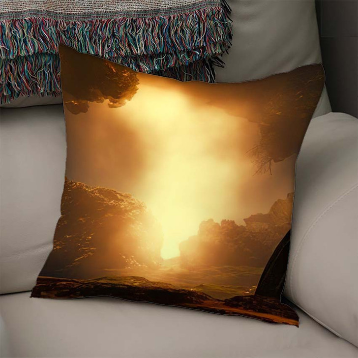 3D Landscape Illustration Where We Observe - Fantasy Linen Throw Pillow