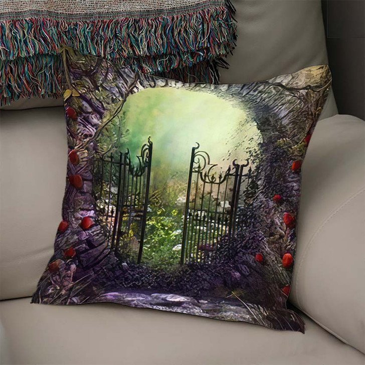 3D Render Illustration Magical Old Gate - Fantasy Linen Throw Pillow