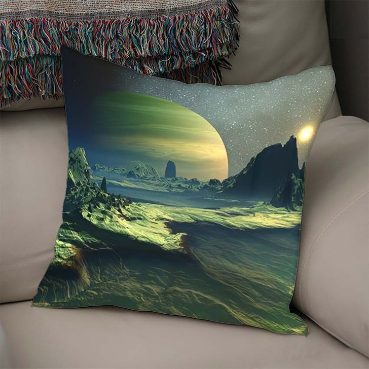 3D Rendered Fantasy Alien Landscape Illustration - Fantasy Linen Throw Pillow