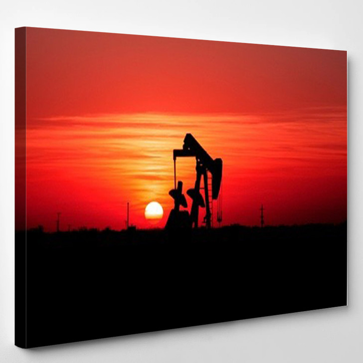 Sunset And Oilfield Pump Jack - Nature Canvas Wall Decor