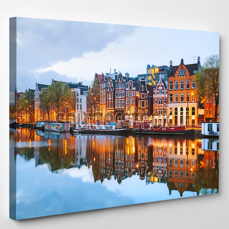Night City View Of Amsterdam - Nature Canvas Wall Decor