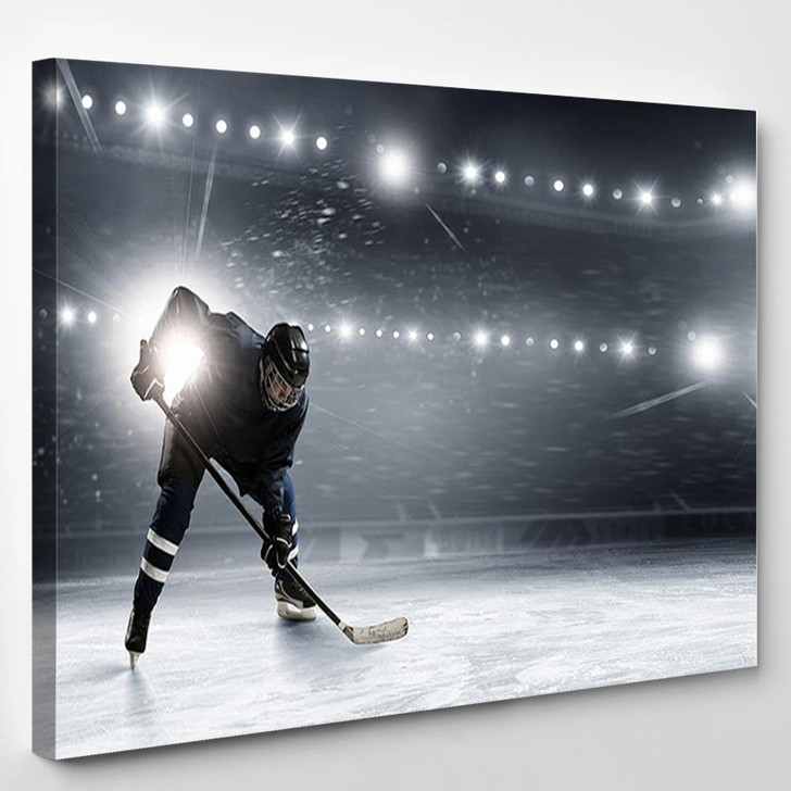 Hockey Player In Lights At Ice Rink - Sport Canvas Wall Decor