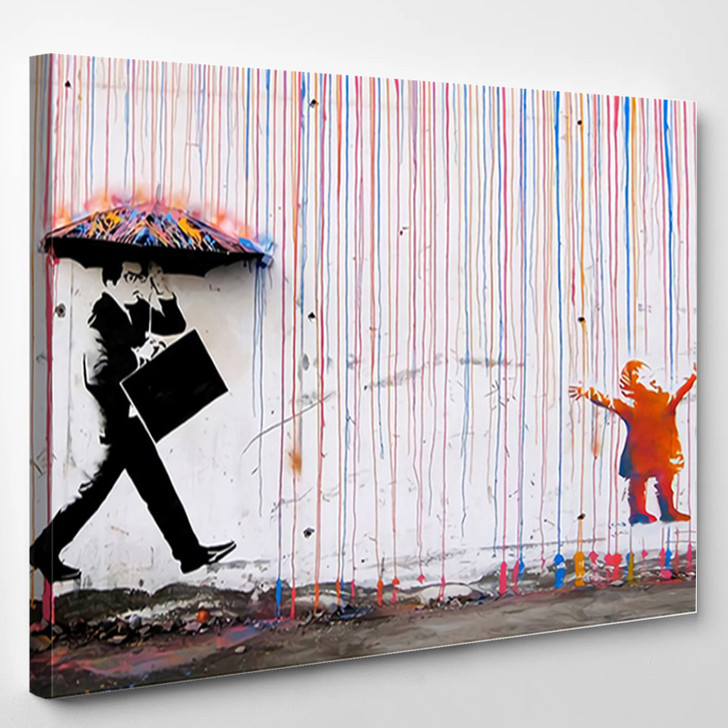 Colorful Rain By Banksy - Abstract Canvas Wall Decor