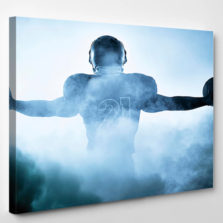 American Football Player Portrait In Silhouette Shadow - Sport Canvas Wall Decor