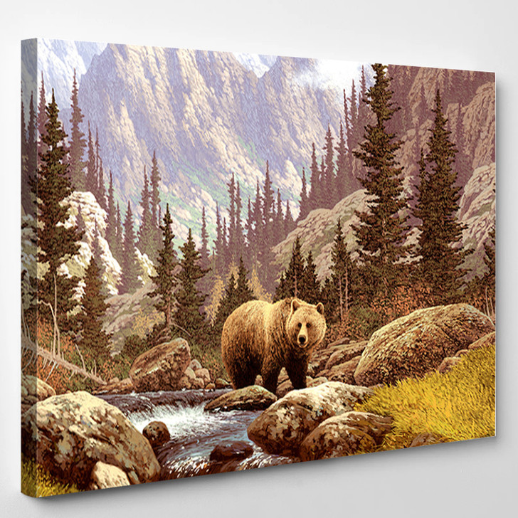 Bear In Wild Forest - Animal Canvas Wall Decor