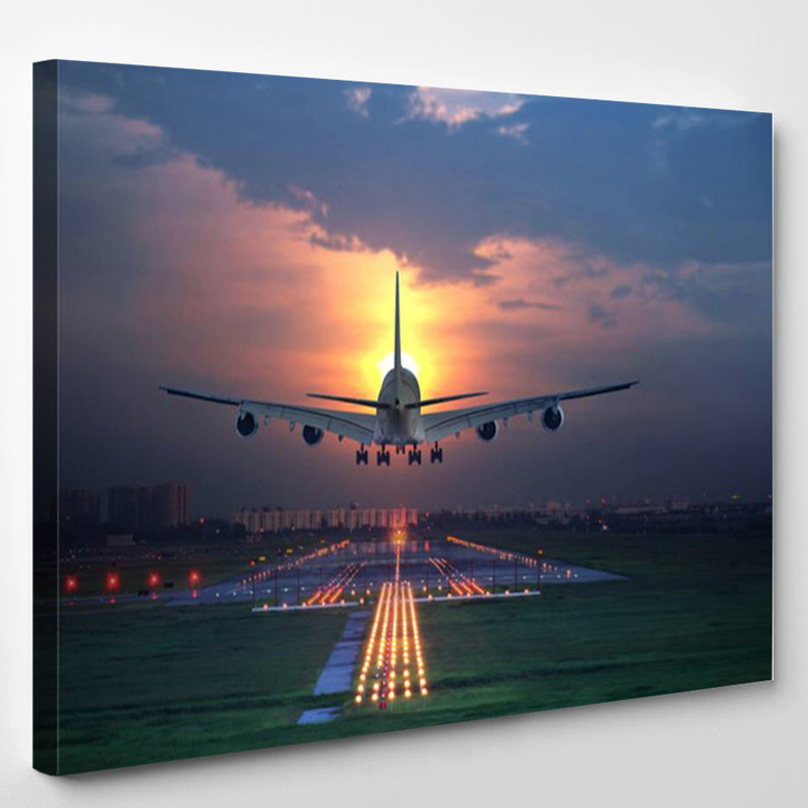 Airplane 747 Aviation Landing Sunset Airport - Airplane Canvas Wall Decor