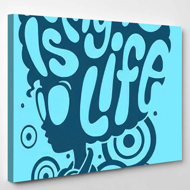 Afro Girl Text On Head Music - Hippies Canvas Wall Decor