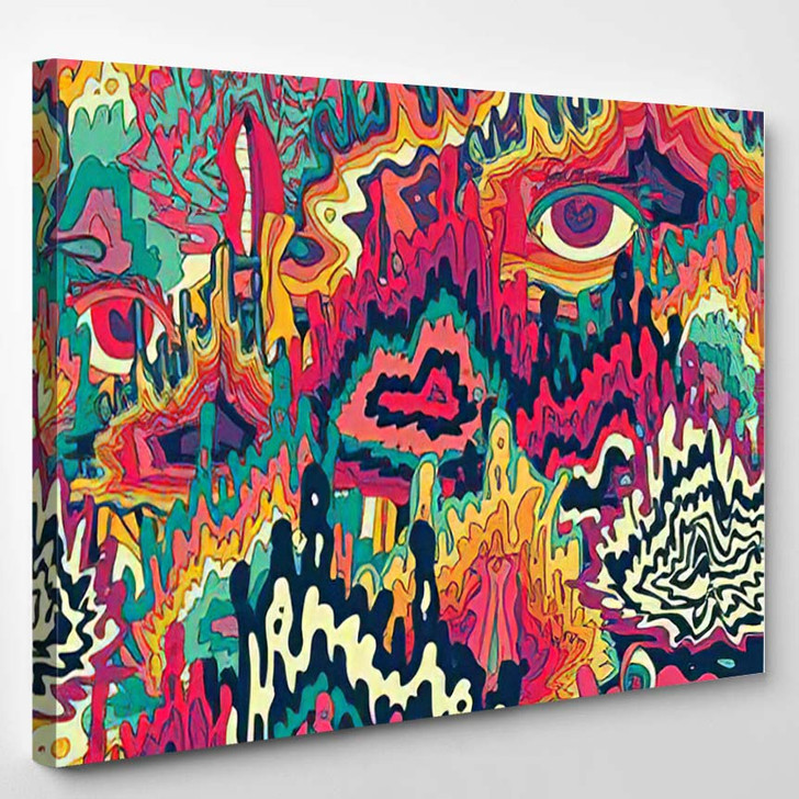 Abstract Colorful Psychedelic Seamless Pattern Background - Hippies Canvas Wall Decor