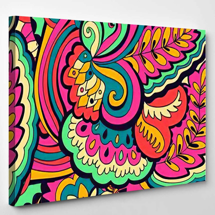 Abstract Colorful Seamless Psychedelic Pattern Vector - Hippies Canvas Wall Decor