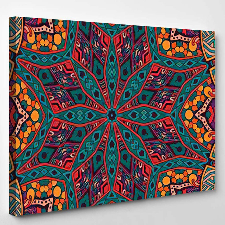 Abstract Geometric Mosaic Vintage Ethnic Seamless - Hippies Canvas Wall Decor