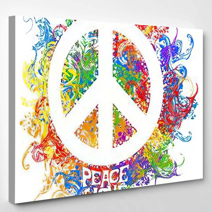 Abstract Vector Illustration Hippie Symbol Over - Hippies Canvas Wall Decor