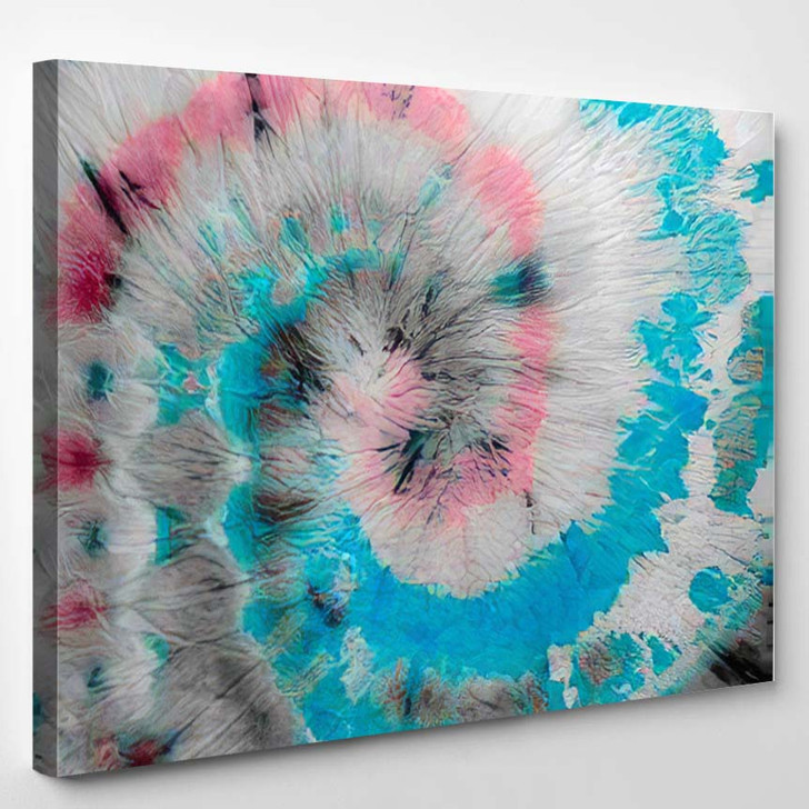 Blue Spiral Swirl Dyed Batik Colorful - Hippies Canvas Wall Decor
