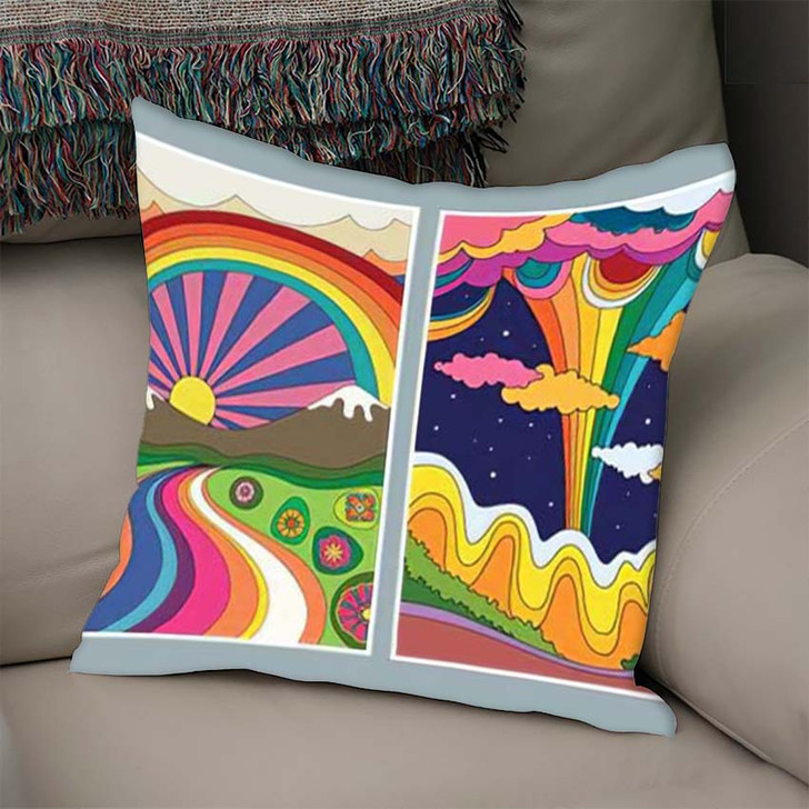 1960S 1970S Art Style Colorful Psychedelic - Psychedelic Linen Throw Pillow