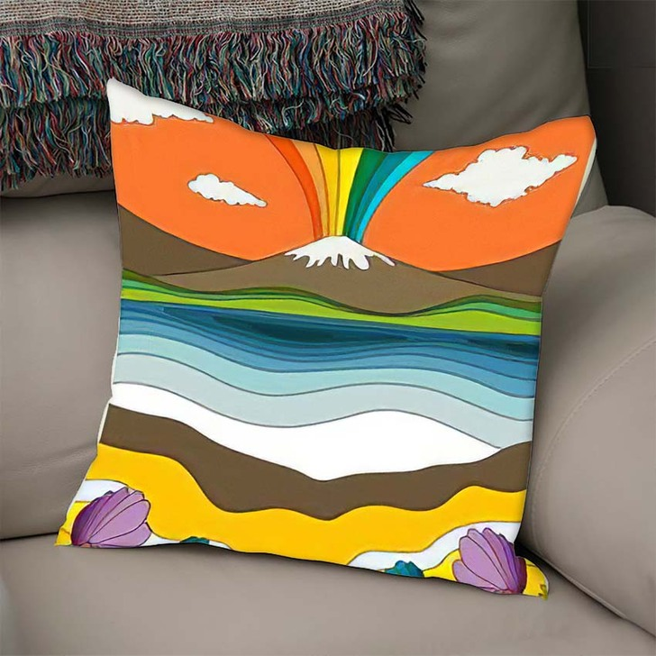 1960S Psychedelic Pattern Poster Cover Template - Psychedelic Linen Throw Pillow