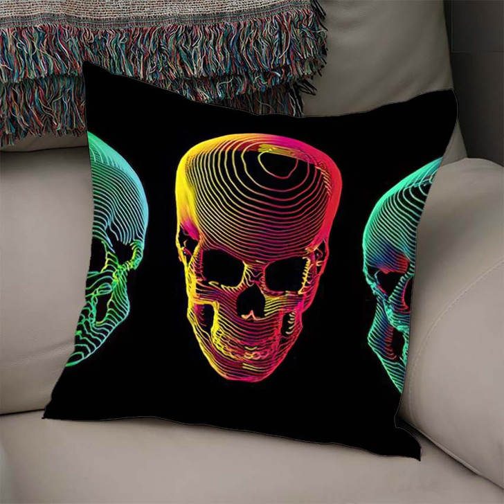 3 Psychedelic Gradient Colorful Line Skull 1 - Psychedelic Linen Throw Pillow