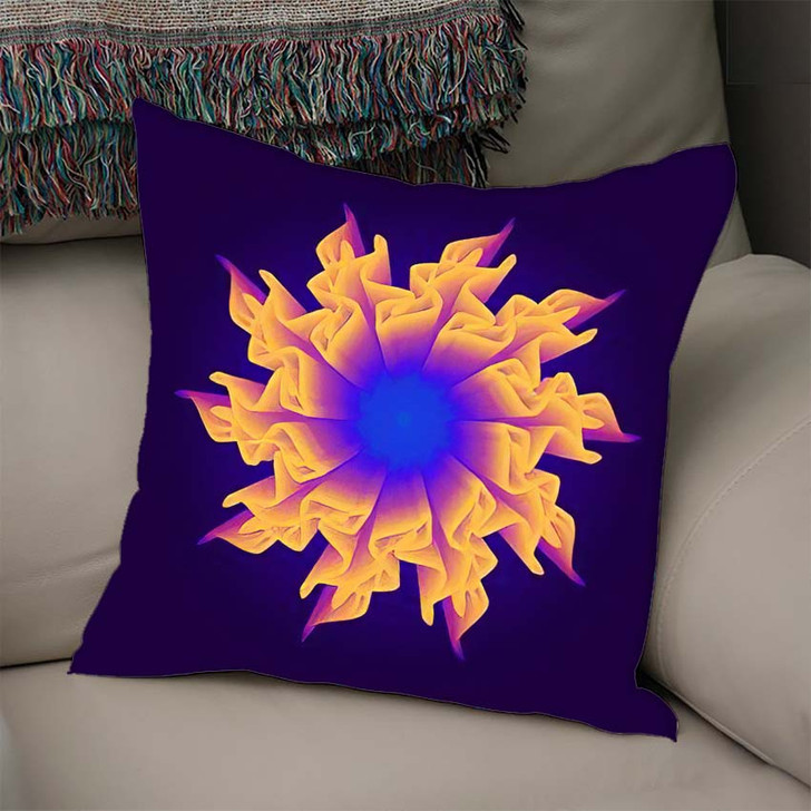 3D Flower Mesh Illustration Abstract Psychedelic - Psychedelic Linen Throw Pillow