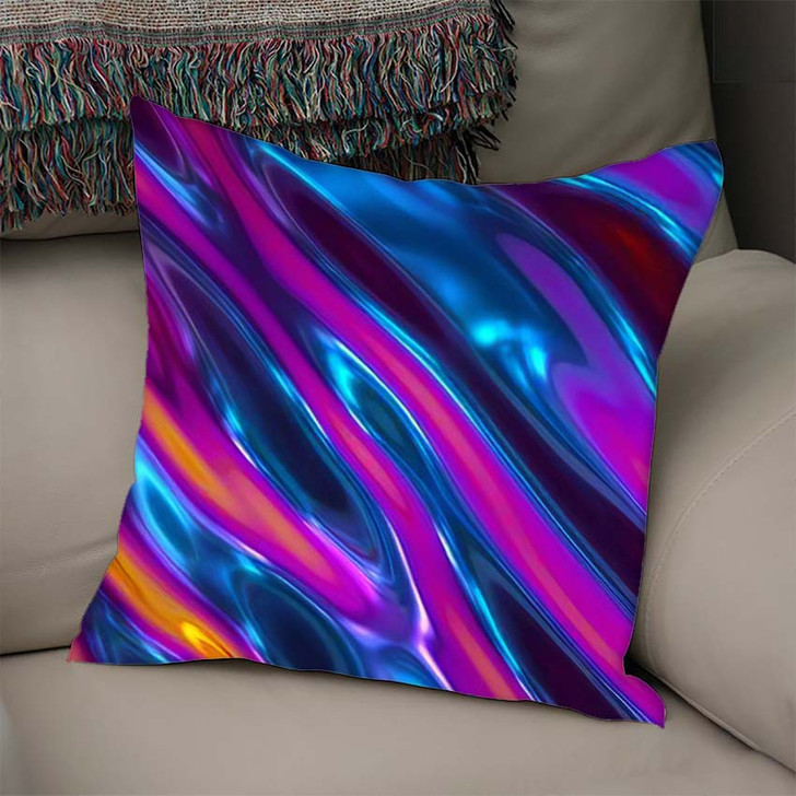 3D Render Abstract Background Iridescent Holographic - Psychedelic Linen Throw Pillow