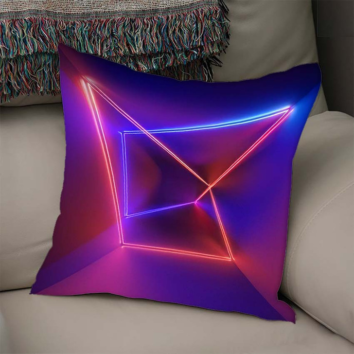 3D Render Ultraviolet Infrared Neon Lines - Psychedelic Linen Throw Pillow