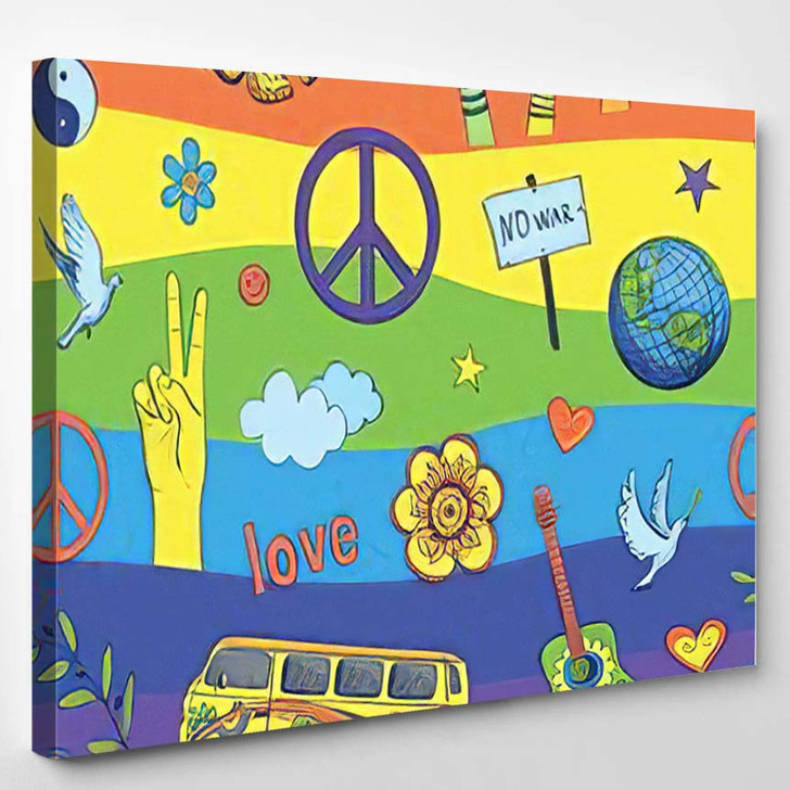 Cheerful Psychedelic Pattern Against Background Rainbow - Hippies Canvas Wall Decor