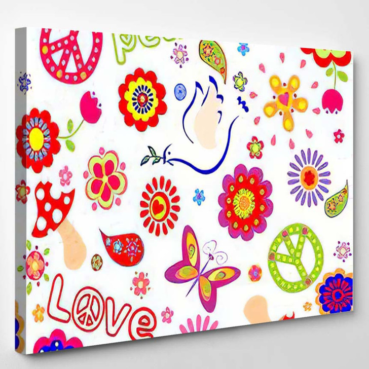 Childish Seamless Wallpaper Colorful Abstract Flowers - Hippies Canvas Wall Decor