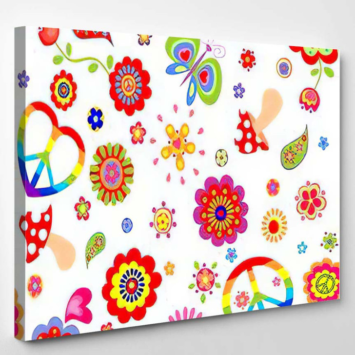 Childish Wallpaper Colorful Hippie Peace Symbol - Hippies Canvas Wall Decor