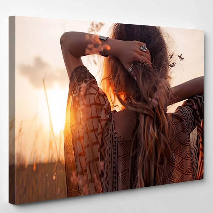 Close Beautiful Young Woman Sunset 1 - Hippies Canvas Wall Decor