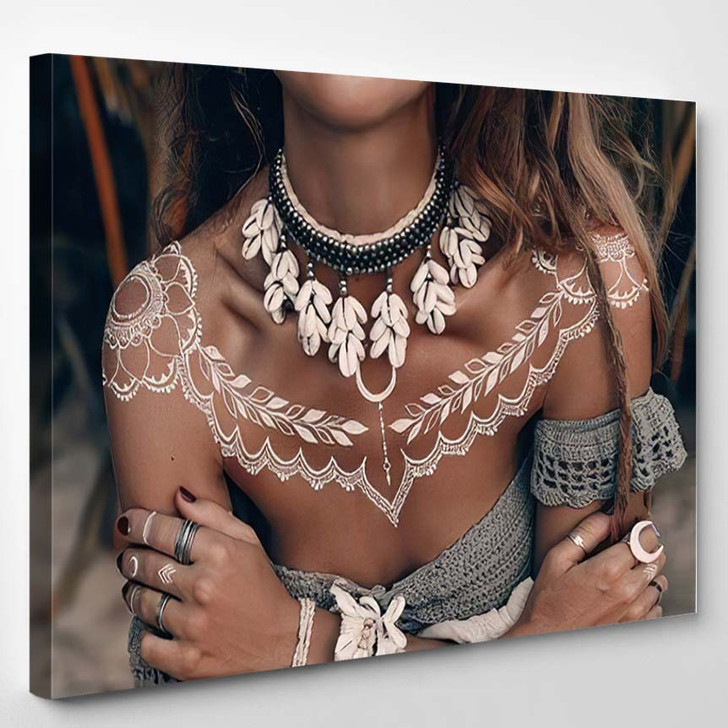 Close Boho Woman Traditional Ornament Outdoors - Hippies Canvas Wall Decor