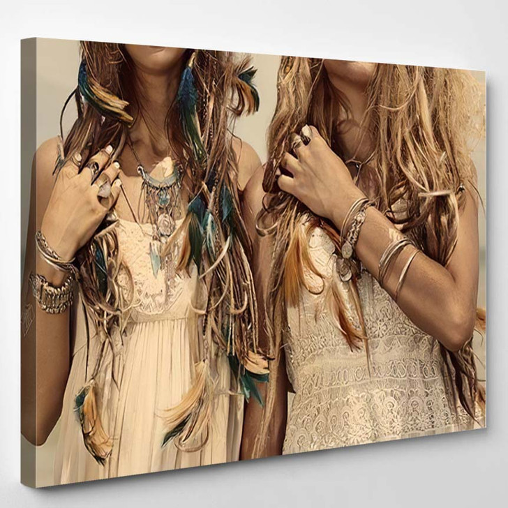 Close Image Two Hippie Girls Boho - Hippies Canvas Wall Decor