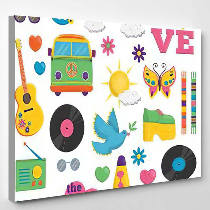 Collection Vintage Retro 1960S Hippie Style - Hippies Canvas Wall Decor