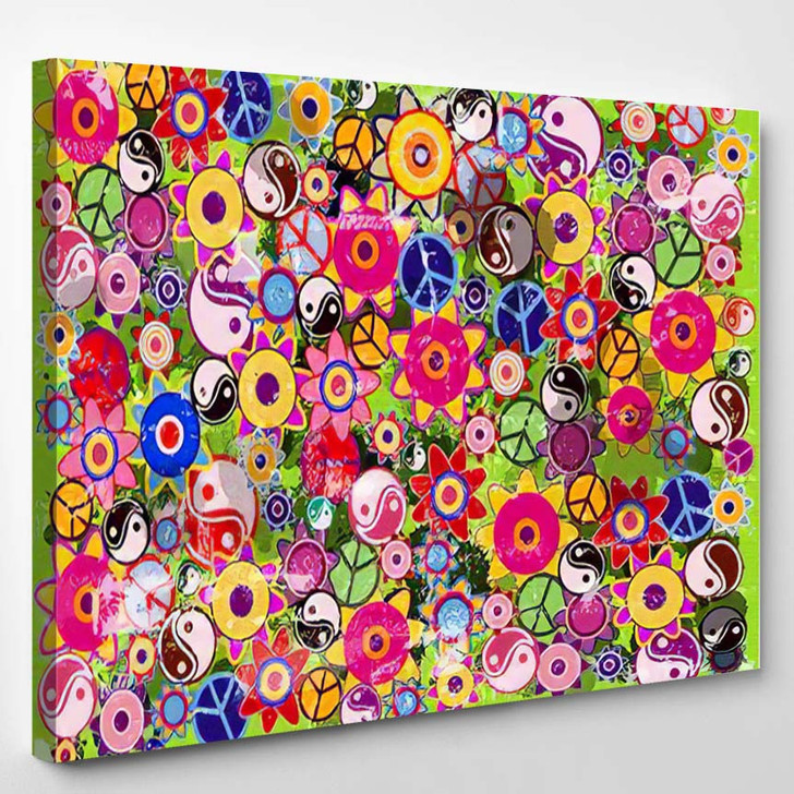 Color Vector Hippies Flowers Background Blobs - Hippies Canvas Wall Decor