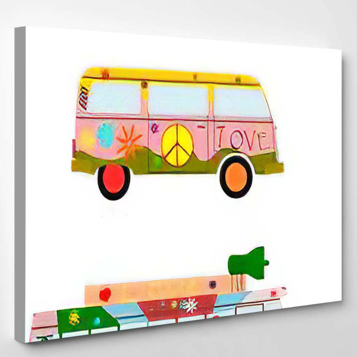 Colorful Hippie Car Silhouette On White - Hippies Canvas Wall Decor