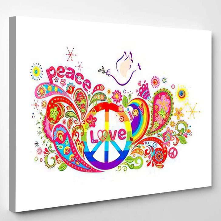 Colorful Poster Abstract Flowers Rainbow Hippie - Hippies Canvas Wall Decor