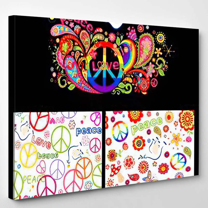 Colorful Poster Wallpaper Abstract Flowers Rainbow - Hippies Canvas Wall Decor