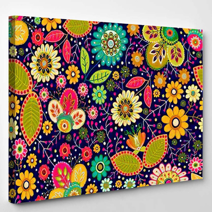 Colorful Seamless Floral Pattern Bright Summer - Hippies Canvas Wall Decor