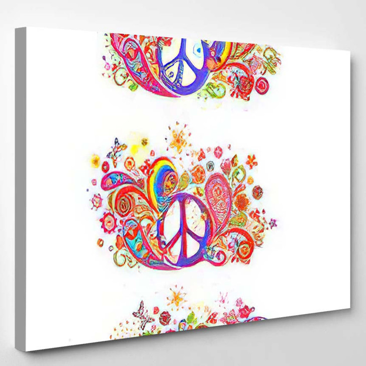 Colorful T Shirt Prints Collection Hippie - Hippies Canvas Wall Decor