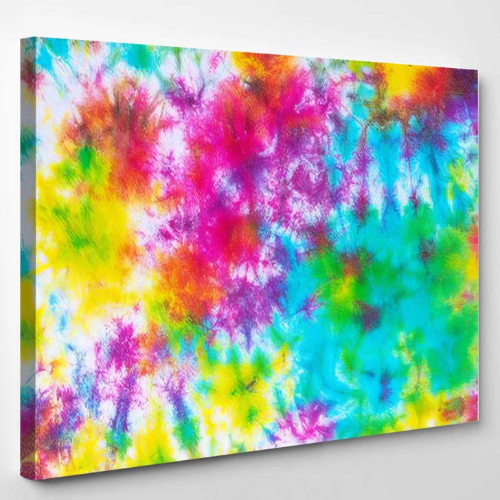 Colorful Tie Dye Pattern Abstract Background 2 - Hippies Canvas Wall Decor