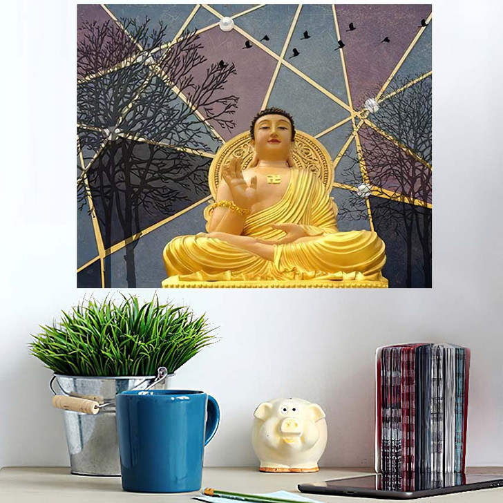 3D Buddha Wallpaper Texture Background Illustration - Buddha Religion Wall Art Poster