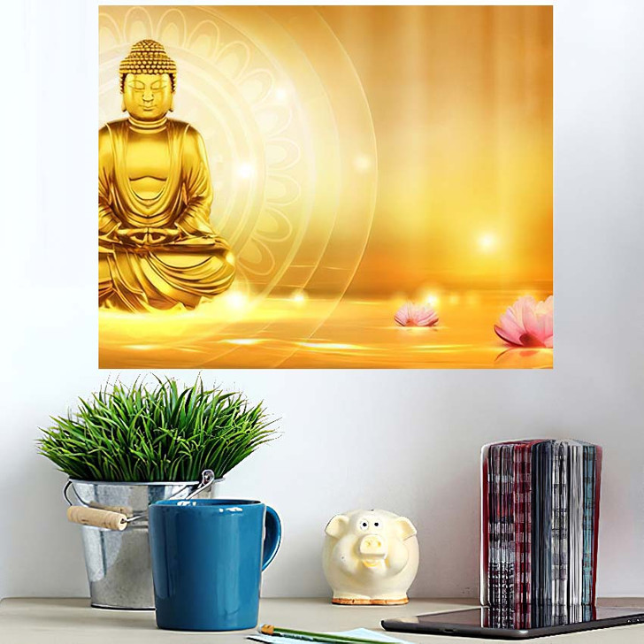 3D Illustration Buddha Meditated Lotus Flowers - Buddha Religion Wall Art Poster