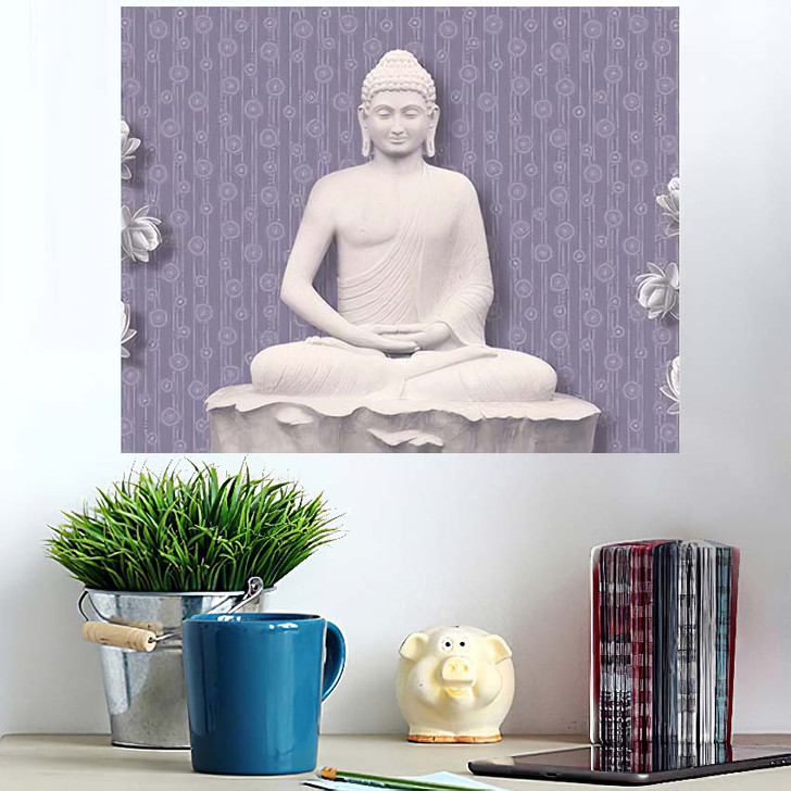 3D Illustration Buddha Meditating Beautiful Flower - Buddha Religion Wall Art Poster