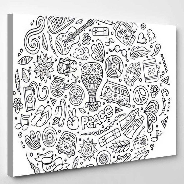 Colorful Vector Hand Drawn Set Hippie - Hippies Canvas Wall Decor