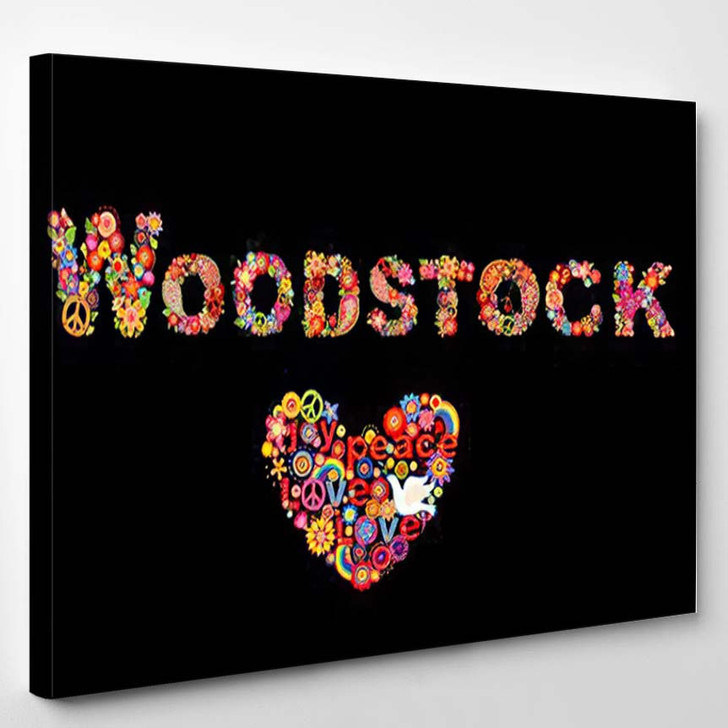 Colorful Woodstock Flowers Lettering Hippie Heart - Hippies Canvas Wall Decor