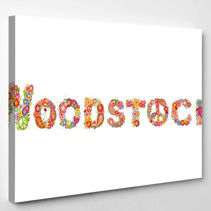 Colorful Woodstock Flowers Lettering Hippie Peace - Hippies Canvas Wall Decor