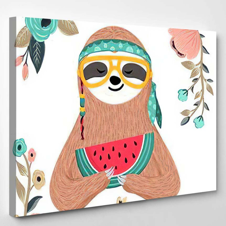 Cute Baby Sloth Eating Watermelon Hipster - Hippies Canvas Wall Decor