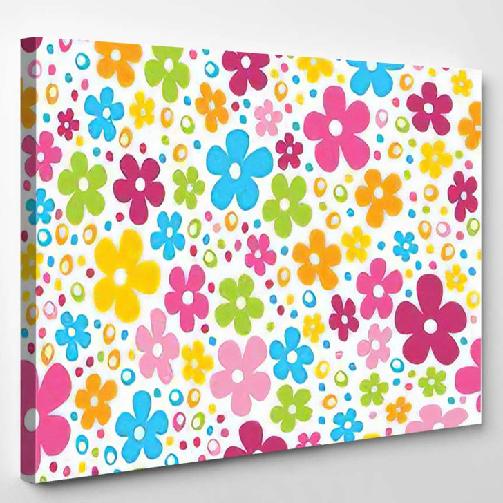 Cute Spring Flowers Dots Seamless Pattern - Hippies Canvas Wall Decor