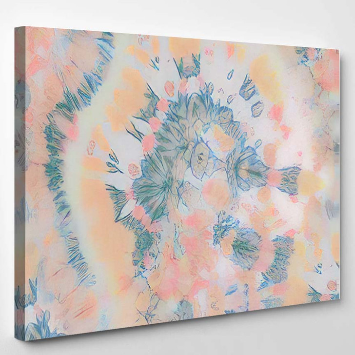 Endless Round Spiral Dyed Bokeh Rainbow - Hippies Canvas Wall Decor